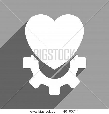 Mechanical Heart long shadow vector icon. Style is a flat Mechanical heart white iconic symbol on a gray square background.