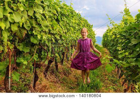 Summer portrait of a cute little girl in vineyard at sunset