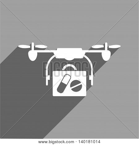 Medical Drone Shipment long shadow vector icon. Style is a flat medical drone shipment white iconic symbol on a gray square background.