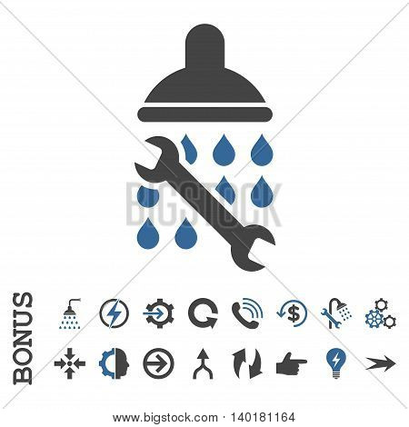 Shower Plumbing vector bicolor icon. Image style is a flat pictogram symbol, cobalt and gray colors, white background.