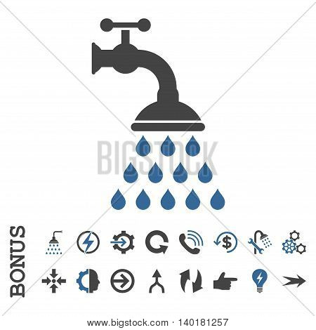 Shower Tap vector bicolor icon. Image style is a flat pictogram symbol, cobalt and gray colors, white background.