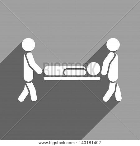 Medics Carry the Patient long shadow vector icon. Style is a flat medics carry the patient white iconic symbol on a gray square background.