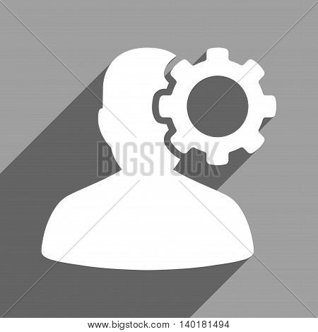 Migraine long shadow vector icon. Style is a flat migraine white iconic symbol on a gray square background.