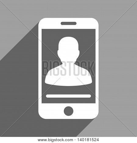 Mobile Contact long shadow vector icon. Style is a flat mobile contact white iconic symbol on a gray square background.