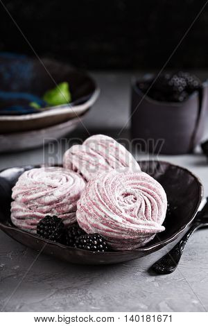 Homemade light and airy marshmallow dessert with berries