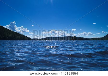 On the lake during a sunny day