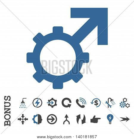 Technological Potence vector bicolor icon. Image style is a flat pictogram symbol, cobalt and gray colors, white background.