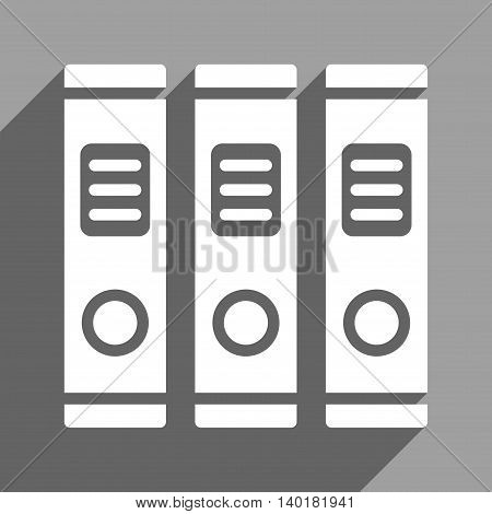 Office Books long shadow vector icon. Style is a flat office books white iconic symbol on a gray square background.