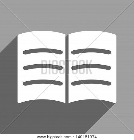 Open Book long shadow vector icon. Style is a flat open book white iconic symbol on a gray square background.