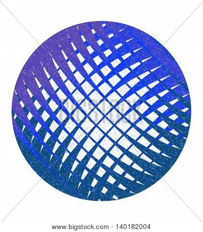 Speckled blue abstract circle with lattice. Vector design element