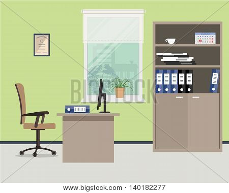 Workplace of office worker. Vector flat illustration. On the picture the desktop, case for documents, a chair, the  computer and other objects are situated on a window background
