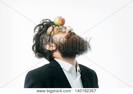 young handsome bearded man scientist or professor in glasses with long beard holding lamp isolated on white background newtons law