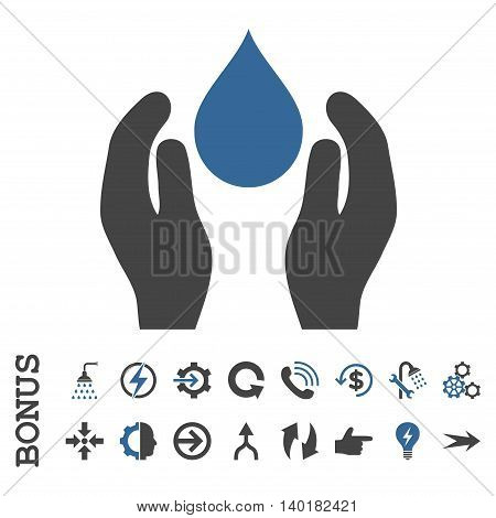 Water Care vector bicolor icon. Image style is a flat iconic symbol, cobalt and gray colors, white background.