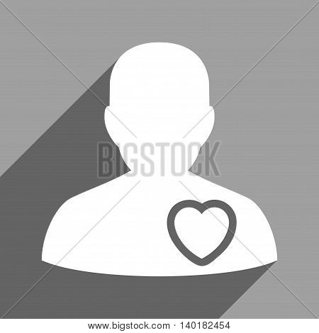 Patient Heart long shadow vector icon. Style is a flat patient heart white iconic symbol on a gray square background.