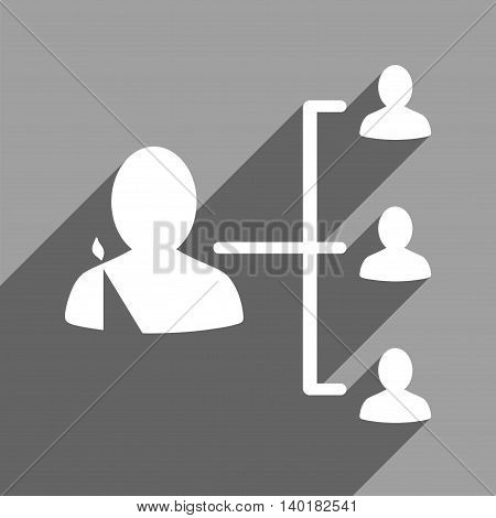 Patient Relations long shadow vector icon. Style is a flat patient relations white iconic symbol on a gray square background.