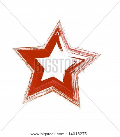 Red grunge vector star. Vector design element