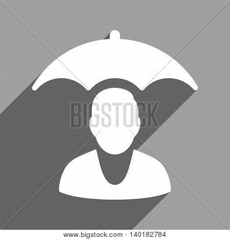 Personal Insurance Protection long shadow vector icon. Style is a flat personal insurance protection white iconic symbol on a gray square background.