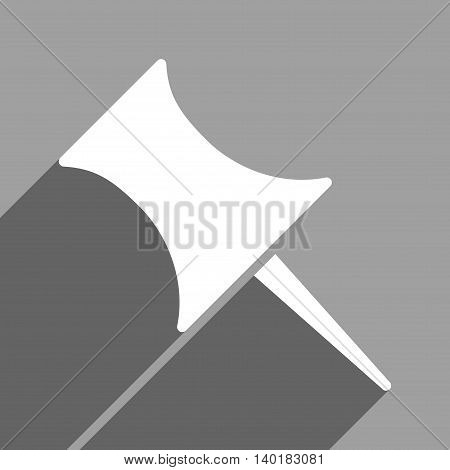 Pin long shadow vector icon. Style is a flat pin white iconic symbol on a gray square background.