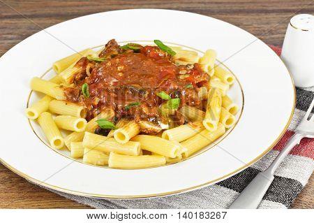 Tortellini with Tomato Paste, Sardines Fish, Spices and Soy Sauce Studio Photo