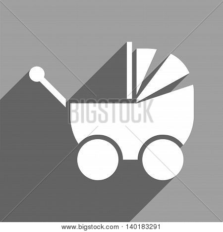 Pram long shadow vector icon. Style is a flat pram white iconic symbol on a gray square background.