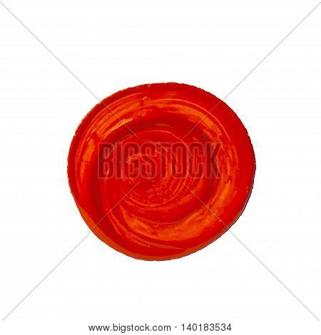 Vector red circle as painted with brush. Vector design element