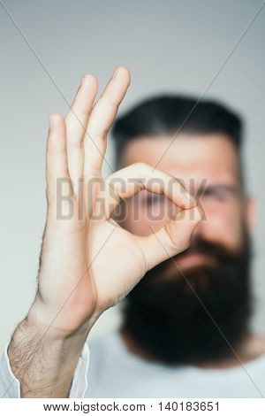Bearded Man With Okey Gesture