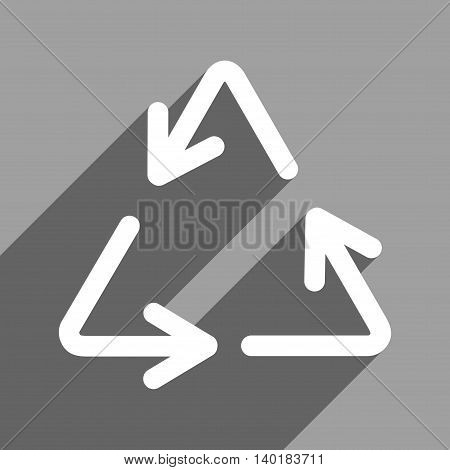 Recycle Arrows long shadow vector icon. Style is a flat recycle arrows white iconic symbol on a gray square background.