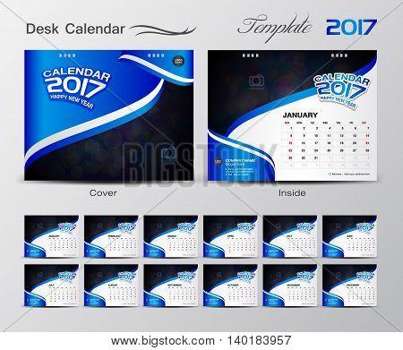 set Blue Calendar 2017 Template design Vector illustration