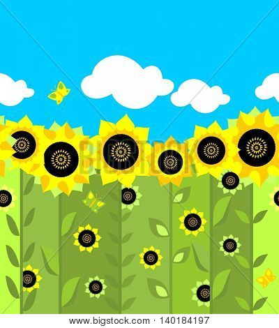 Wallpaper with sunflowers pattern