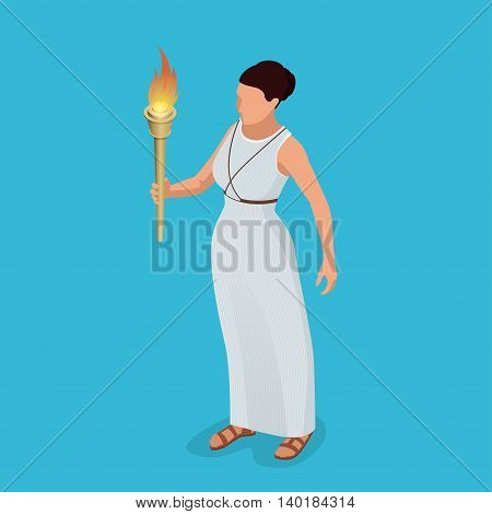 Greek woman with a torch in her hand. Woman archer. The Greek goddess - Artemis. Goddess of the Greek pantheon. Flat 3d isometric illustration. Symbol of victory