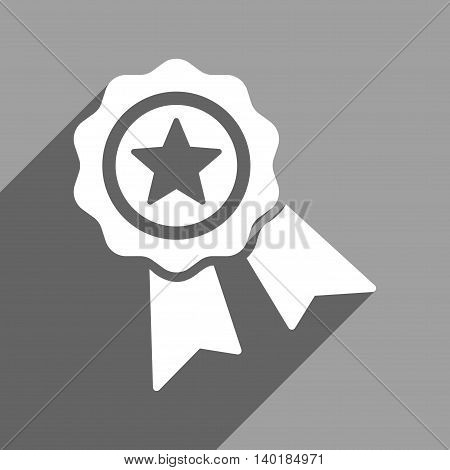 Star Quality Seal long shadow vector icon. Style is a flat star quality seal white iconic symbol on a gray square background.