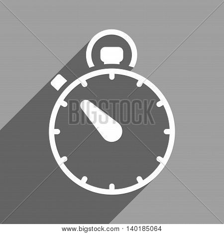 Stopwatch long shadow vector icon. Style is a flat stopwatch white iconic symbol on a gray square background.