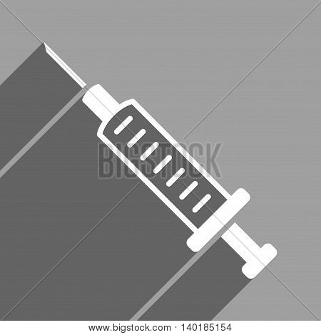Syringe long shadow vector icon. Style is a flat syringe white iconic symbol on a gray square background.