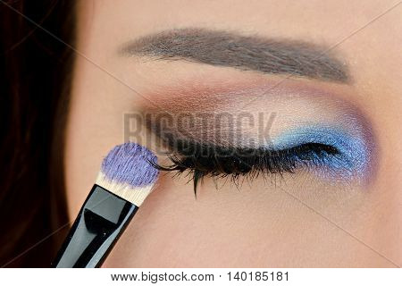 Portrait Of Sexy Fashion Model Girl With Bright Eye Makeup. Beautiful Woman With Long False Eyelashe