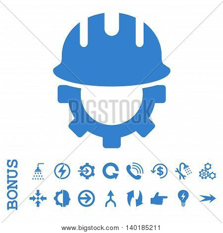 Development Hardhat vector icon. Image style is a flat iconic symbol, cobalt color, white background.