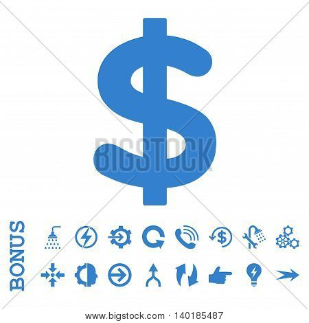 Dollar vector icon. Image style is a flat iconic symbol, cobalt color, white background.