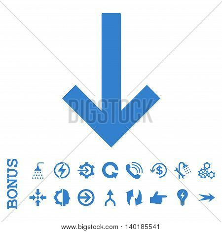 Down Arrow vector icon. Image style is a flat pictogram symbol, cobalt color, white background.