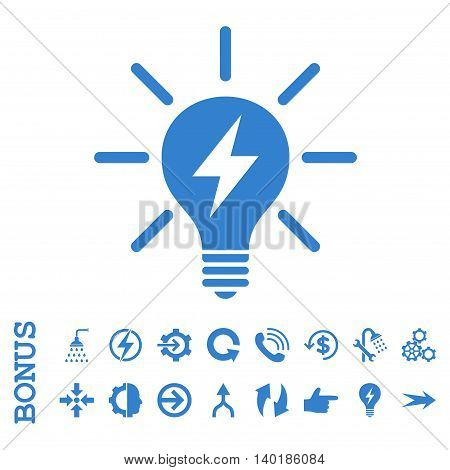 Electric Light Bulb vector icon. Image style is a flat pictogram symbol, cobalt color, white background.