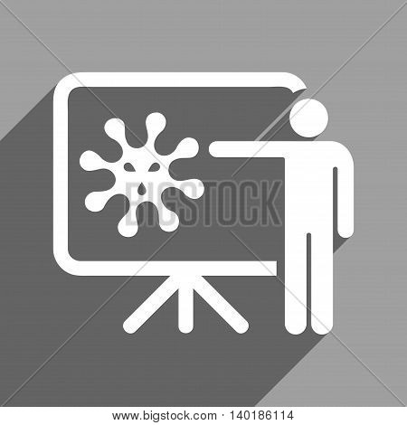 Virus Lecture long shadow vector icon. Style is a flat virus lecture white iconic symbol on a gray square background.