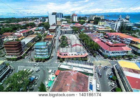 Labuan,Malaysia-April 14,2012:Eye view of the city of Labuan town,Malaysia.Labuan Town is the capital of the Federal Territory of Labuan in Malaysia,an island group off the north coast of Borneo.