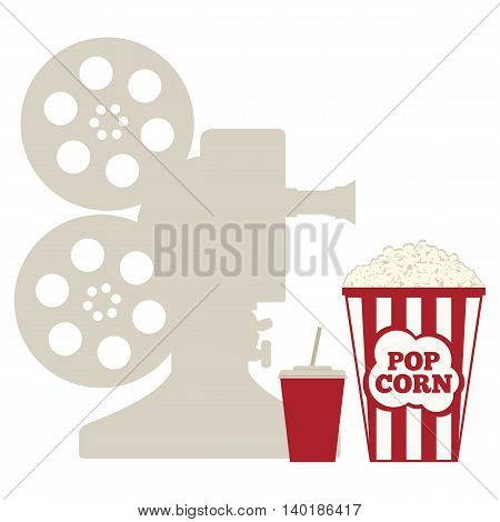 Popcorn and a cup with a drink. Silhouette of the projector. Flat vector illustration.