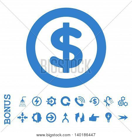 Finance vector icon. Image style is a flat iconic symbol, cobalt color, white background.
