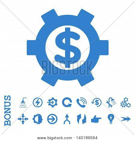 Financial Settings vector icon. Image style is a flat pictogram symbol, cobalt color, white background.