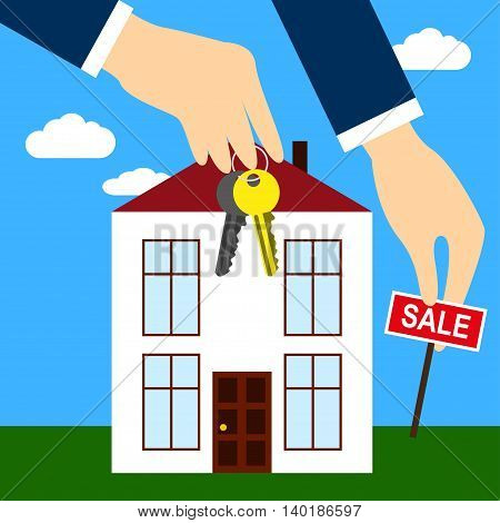 New house for sale Hands of the real estate agent holding keys and Sold sign