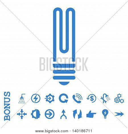 Fluorescent Bulb vector icon. Image style is a flat pictogram symbol, cobalt color, white background.