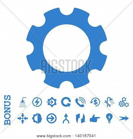 Gear vector icon. Image style is a flat iconic symbol, cobalt color, white background.