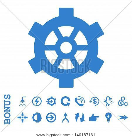 Gear vector icon. Image style is a flat pictogram symbol, cobalt color, white background.
