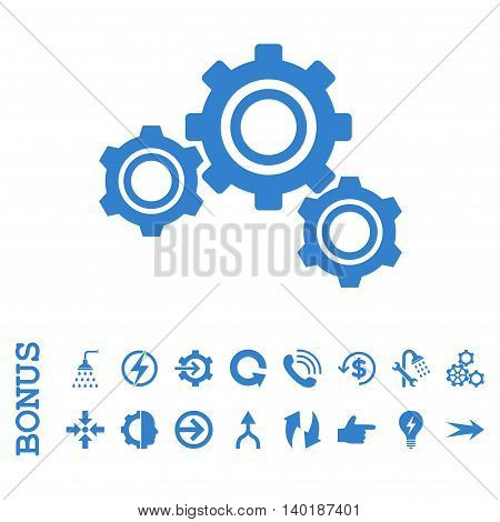 Gears vector icon. Image style is a flat iconic symbol, cobalt color, white background.