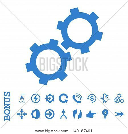 Gears vector icon. Image style is a flat pictogram symbol, cobalt color, white background.