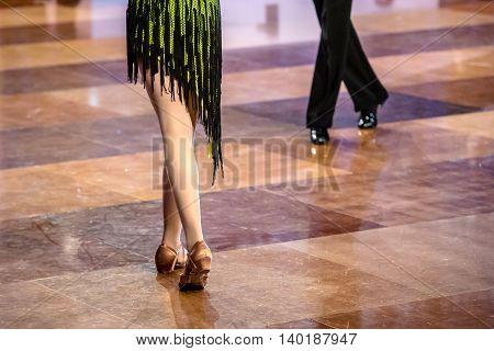 dancers dancing latin ballroom dance on the dancefloor